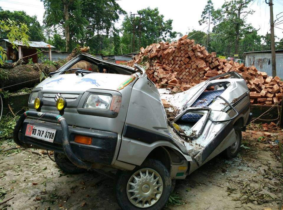 damaged caused due to Strong winds and heavy Rainfall and lightning in SIliguri